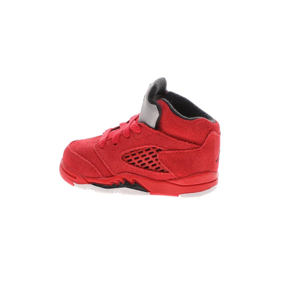 NIKE – Βρεφικά παπούτσια NIKE AIR JORDAN 5 RETRO BT κόκκινα γκρι