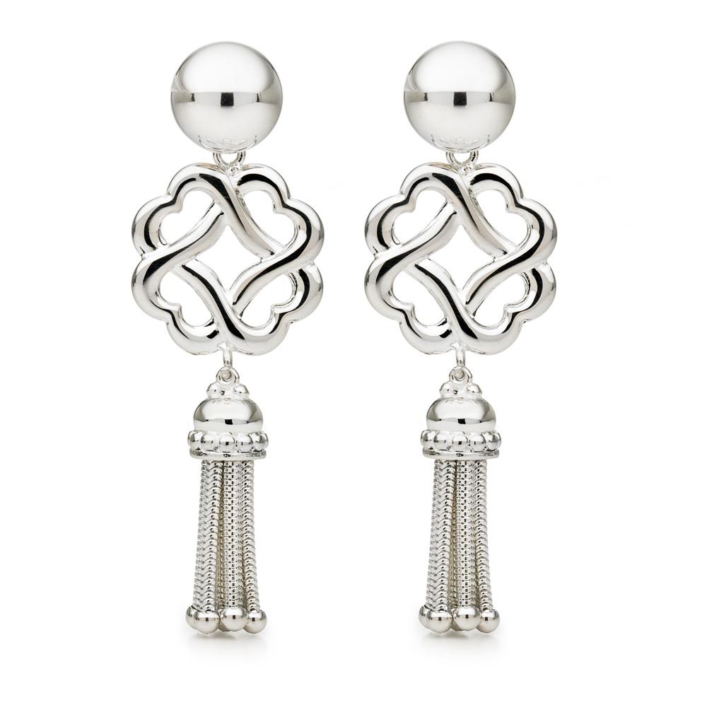 FOLLI FOLLIE - Επάργυρα κρεμαστά σκουλαρίκια Folli Follie VINTAGE με φούντα και  γυναικεία αξεσουάρ κοσμήματα σκουλαρίκια