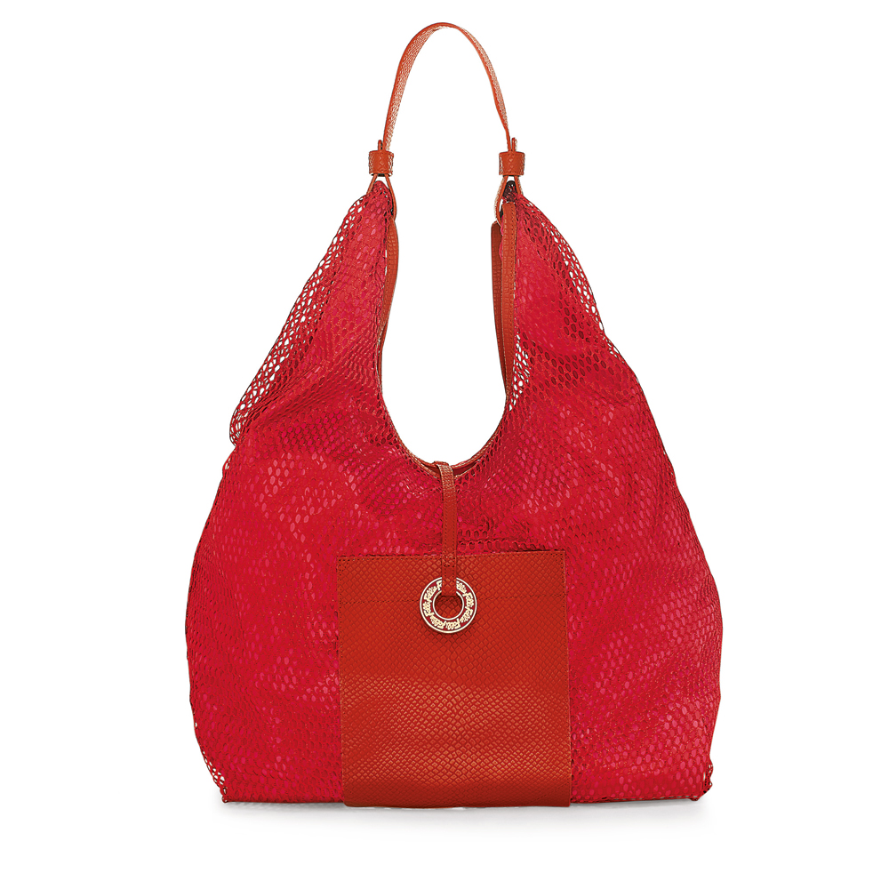 FOLLI FOLLIE - Γυναικεία hobo τσάντα με δίχτυ Folli Follie κόκκινη γυναικεία αξεσουάρ τσάντες σακίδια ωμου