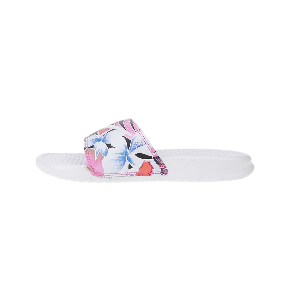 NIKE – Γυναικείες παντόφλες NIKE BENASSI JDI PRINT λευκές ροζ