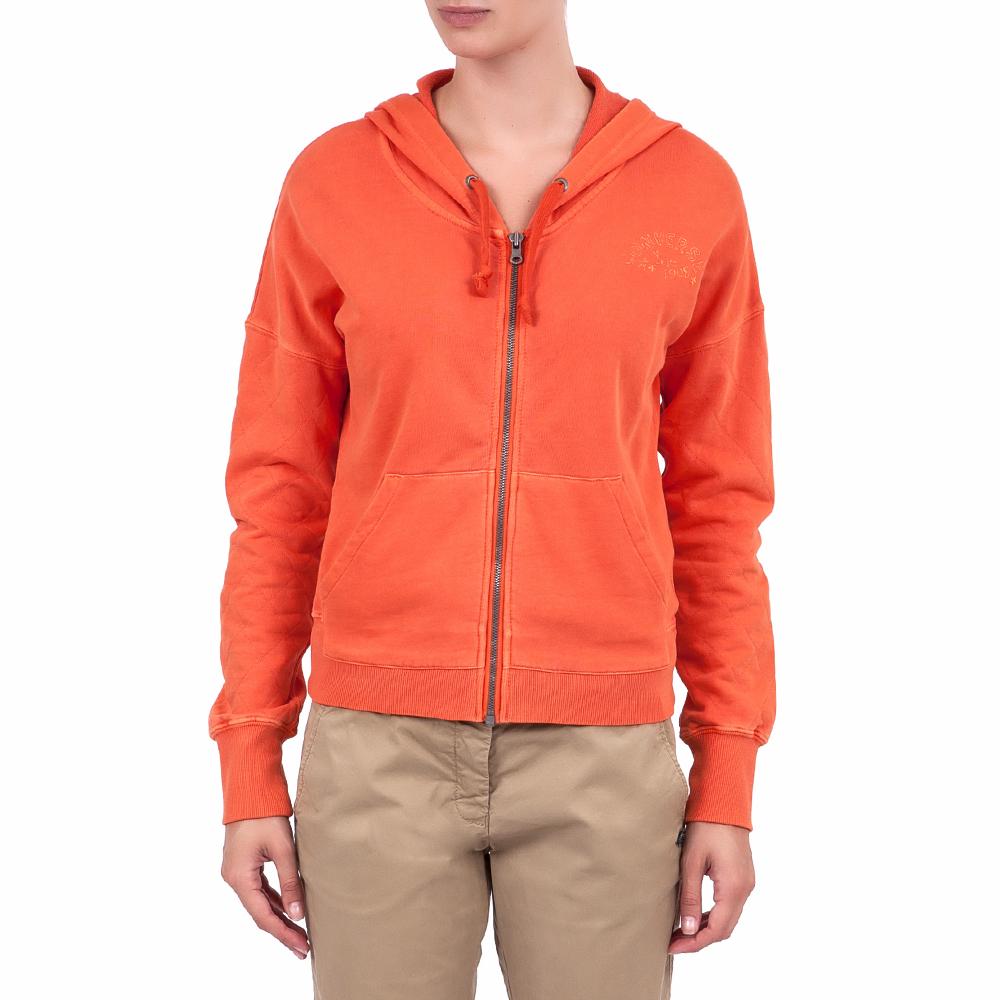 CONVERSE - Γυναικεία ζακέτα Converse πορτοκαλί γυναικεία ρούχα αθλητικά φούτερ μακρυμάνικα