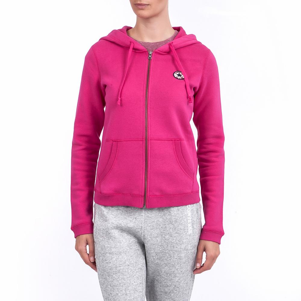 CONVERSE - Γυναικεία ζακέτα Converse φούξια γυναικεία ρούχα αθλητικά φούτερ μακρυμάνικα