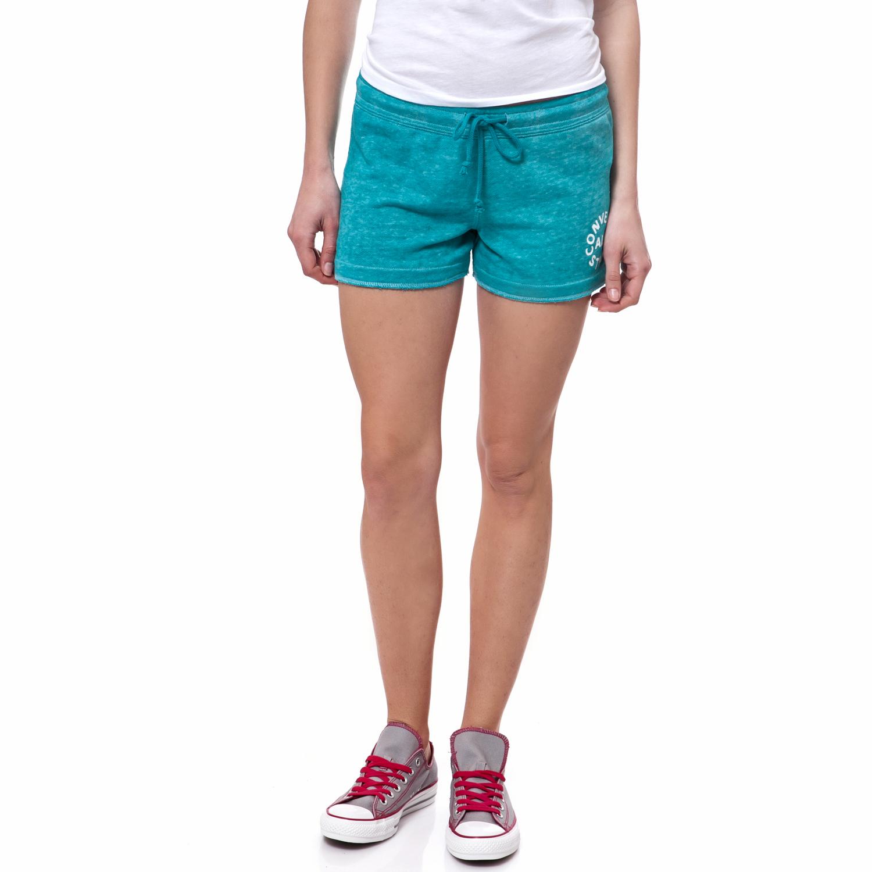 CONVERSE - Γυναικείο σορτς Converse τυρκουάζ γυναικεία ρούχα σορτς βερμούδες αθλητικά