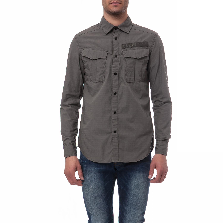 G-STAR RAW - Ανδρικό πουκάμισο G-Star Raw γκρι ανδρικά ρούχα πουκάμισα μακρυμάνικα