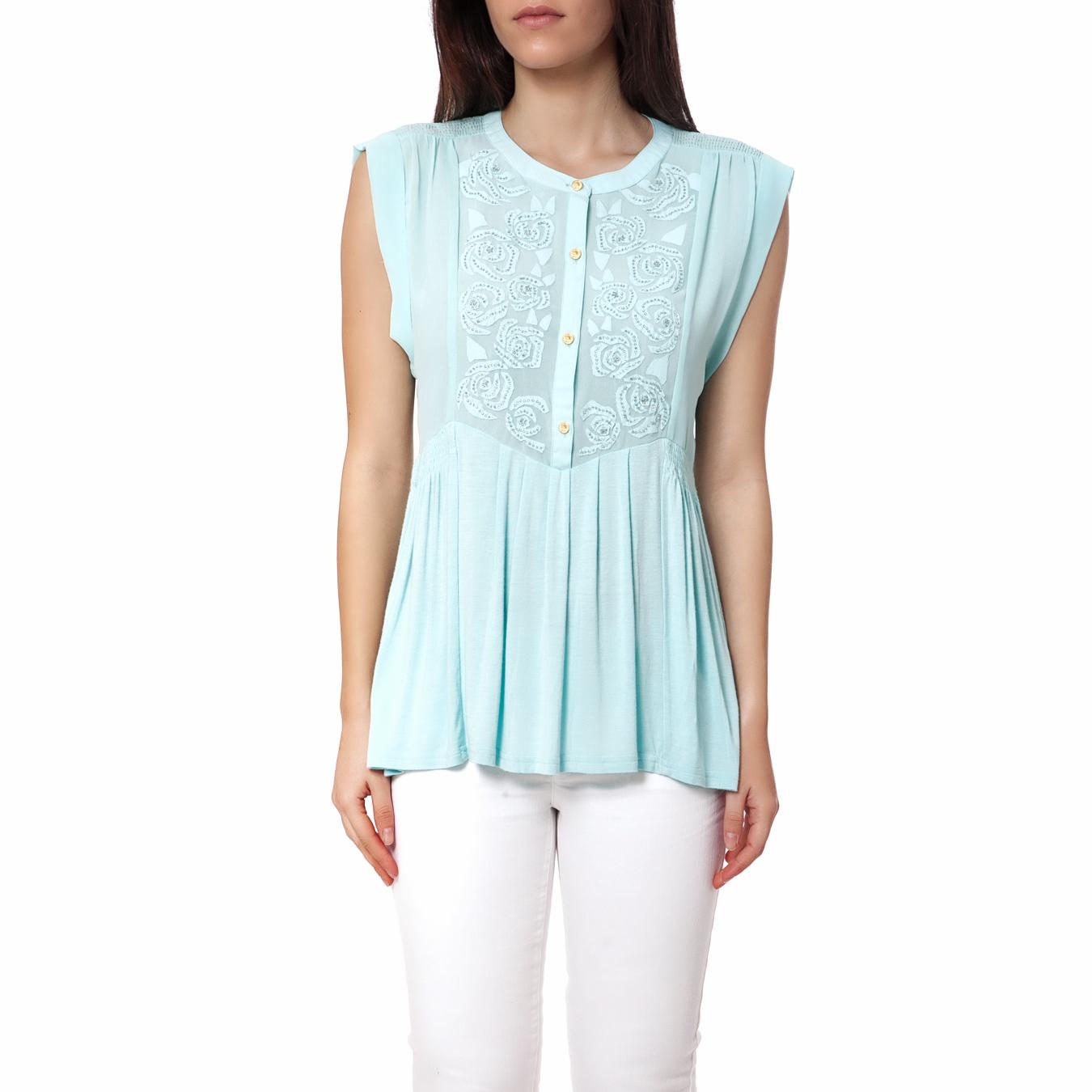 JUICY COUTURE - Γυναικείο πουκάμισο Juicy Couture γαλάζιο γυναικεία ρούχα πουκάμισα κοντομάνικα αμάνικα