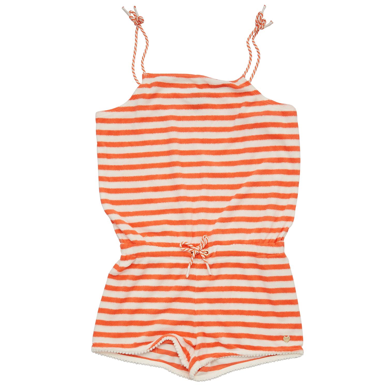JUICY COUTURE KIDS - Παιδική ολόσωμη φόρμα JUICY COUTURE λευκή-πορτοκαλί παιδικά girls ρούχα παντελόνια