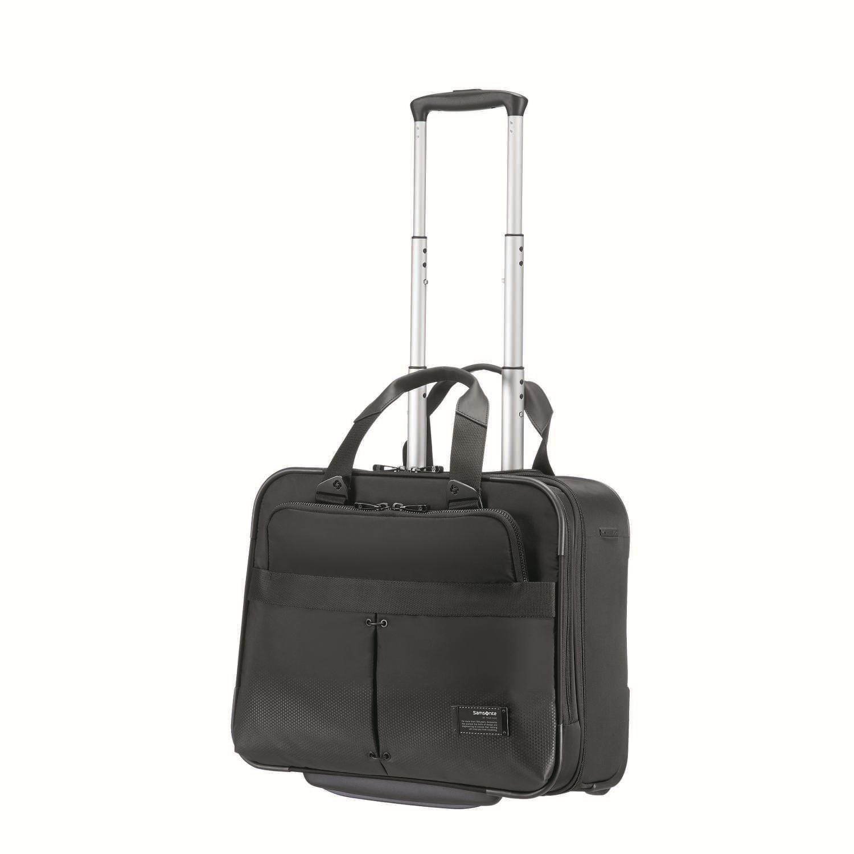 """SAMSONITE - Τσάντα ταξιδιού CITYVIBE ROLLING TOTE 16"""" μαύρη ανδρικά αξεσουάρ τσάντες σακίδια χαρτοφύλακες τσάντες laptop"""