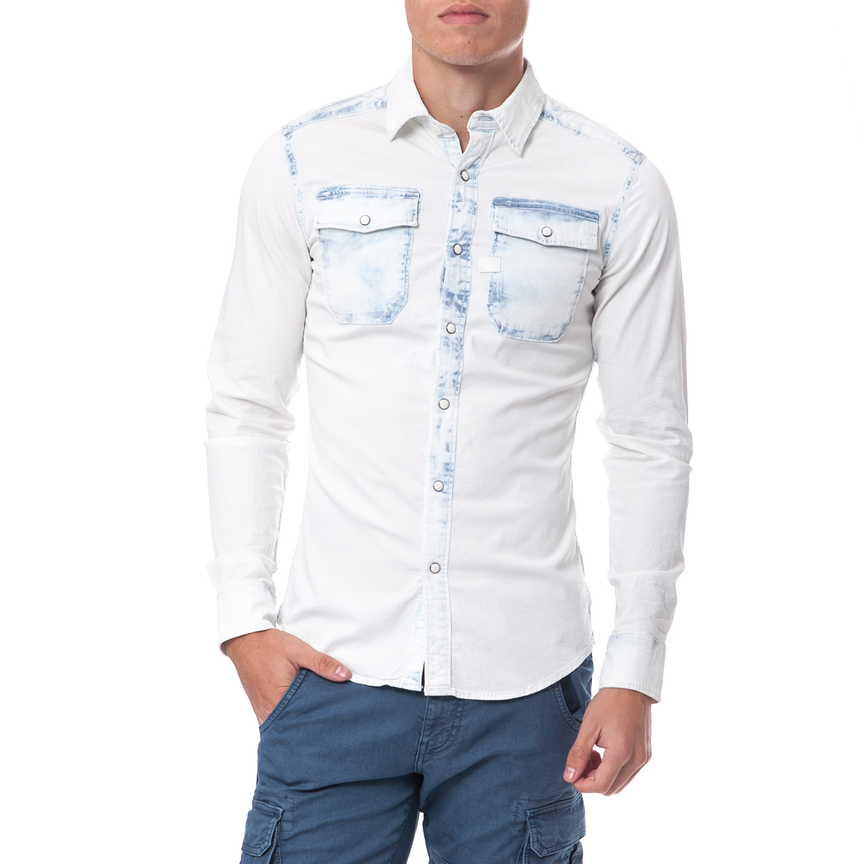 G-STAR RAW - Ανδρικό πουκάμισο G-Star Raw μπλε-λευκό ανδρικά ρούχα πουκάμισα μακρυμάνικα