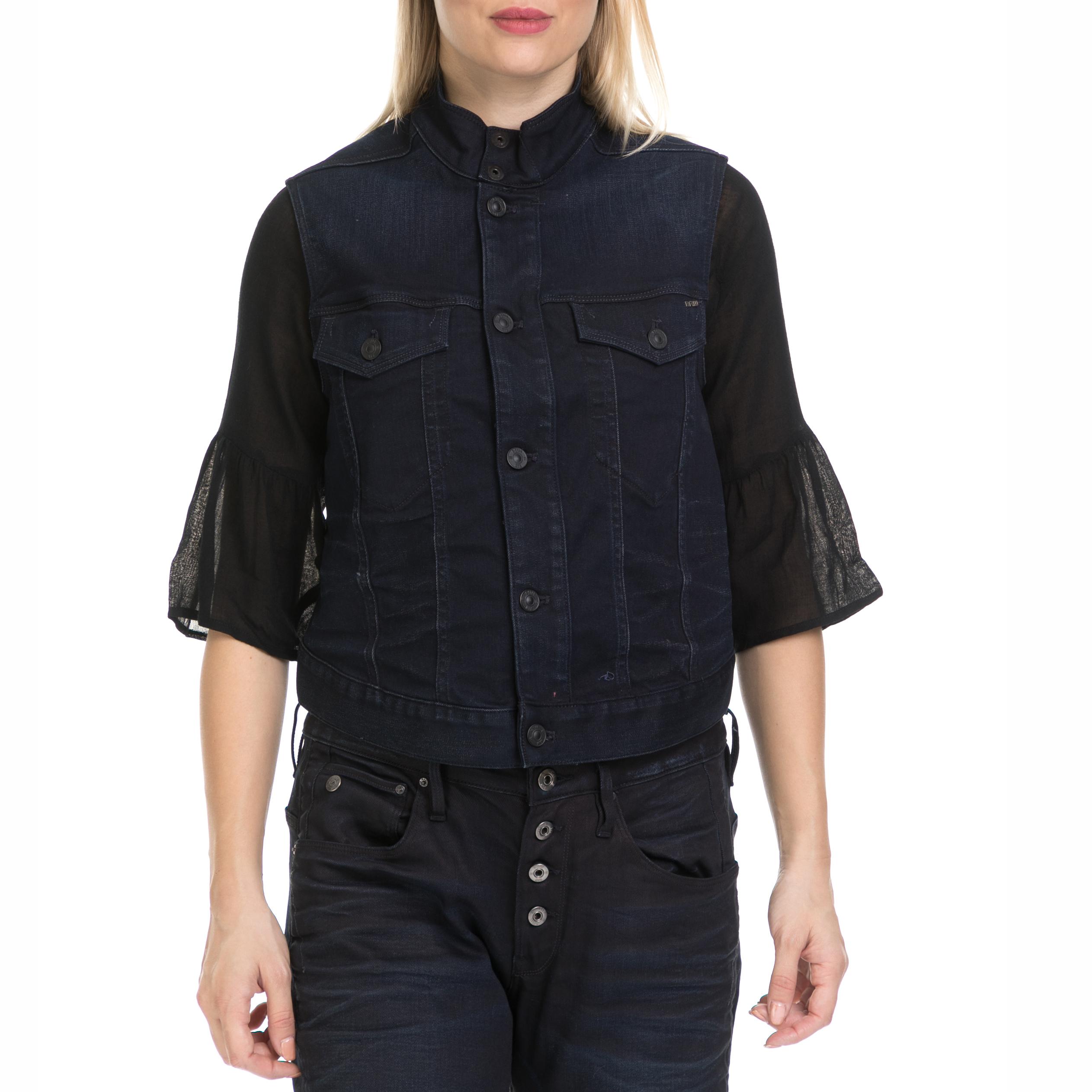 G-STAR - Γυναικείο τζιν μπουφάν G-STAR μπλε γυναικεία ρούχα πανωφόρια αμάνικα μπουφάν