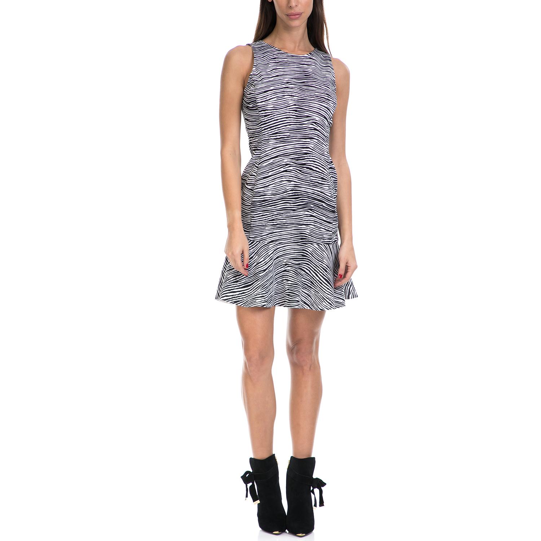GUESS - Γυναικείο αμάνικο φόρεμα ERMIN GUESS λευκό-μαύρο γυναικεία ρούχα φορέματα μίνι