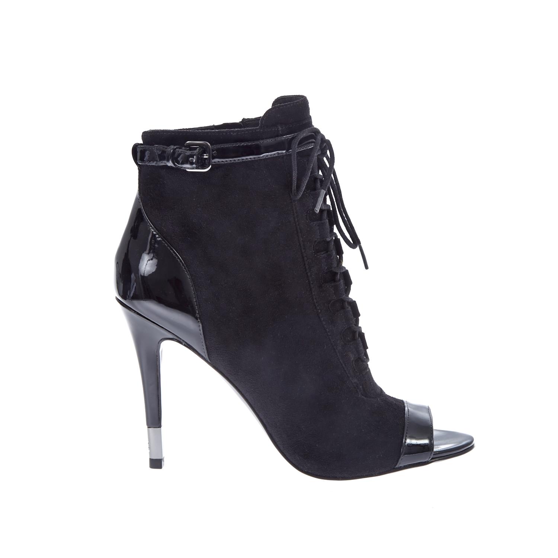 GUESS - Γυναικεία μποτάκια peep toes Guess μαύρα γυναικεία παπούτσια μπότες μποτάκια μποτάκια
