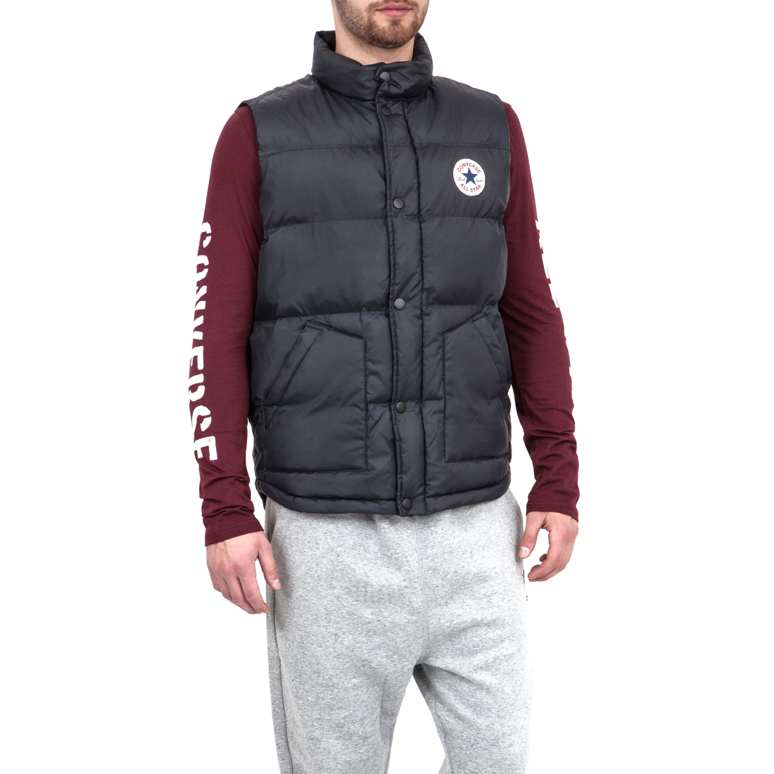 CONVERSE - Ανδρικό μπουφάν Converse μαύρο ανδρικά ρούχα πανωφόρια γιλέκα