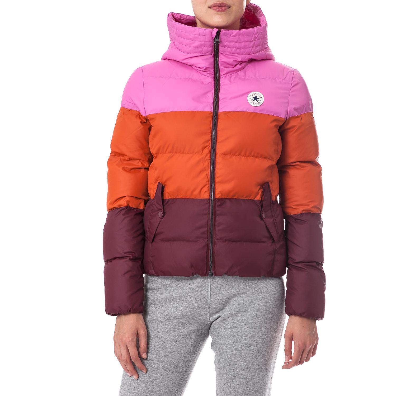 CONVERSE - Γυναικείο μπουφάν Converse μπορντώ-πορτοκαλί γυναικεία ρούχα πανωφόρια μπουφάν
