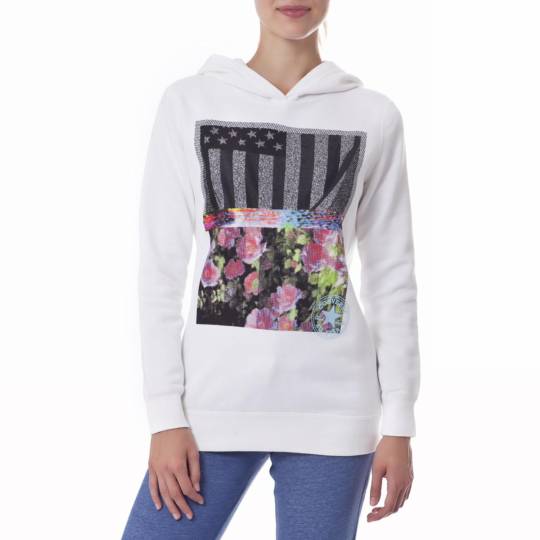 CONVERSE - Γυναικείο φούτερ Converse λευκό γυναικεία ρούχα αθλητικά φούτερ μακρυμάνικα