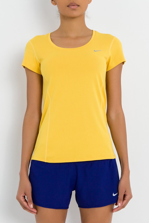 NIKE - Γυναικείο t-shirt DRI-FIT CONTOUR SS κίτρινο γυναικεία ρούχα αθλητικά t shirt τοπ