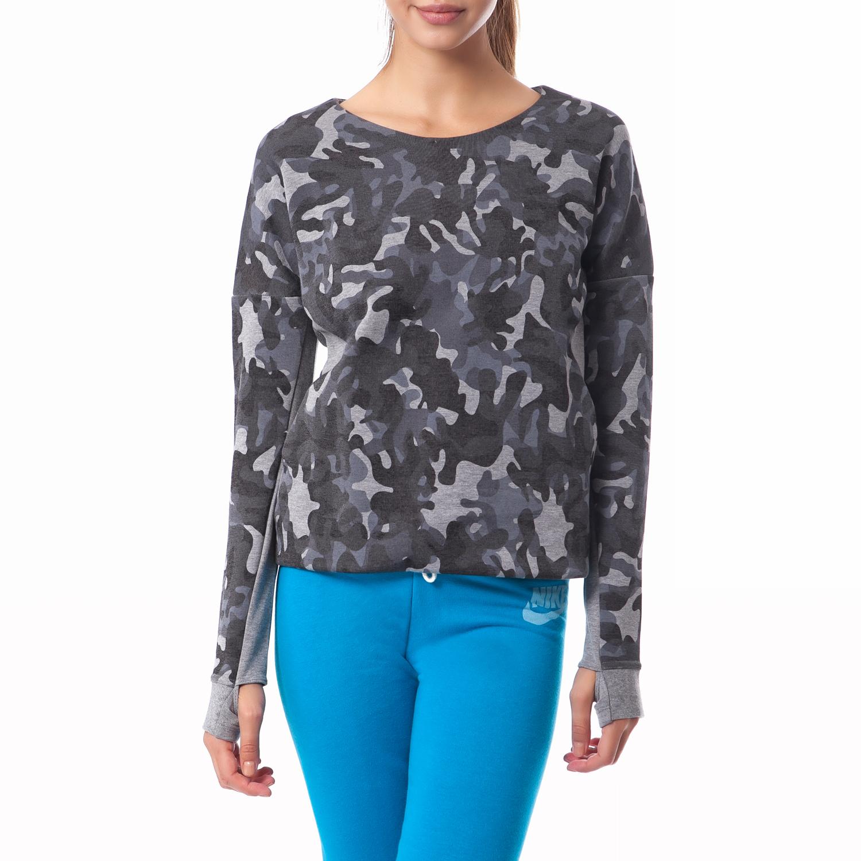 NIKE - Γυναικεία μπλούζα Nike γκρι γυναικεία ρούχα αθλητικά φούτερ μακρυμάνικα