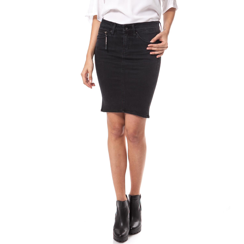 G-STAR RAW - Γυναικεία φούστα G-Star Raw ανθρακί γυναικεία ρούχα φούστες μέχρι το γόνατο