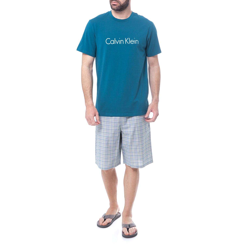 CK UNDERWEAR - Ανδρικό σετ πυτζάμες Calvin Klein γκρι-πετρόλ ανδρικά ρούχα εσώρουχα πυτζάμες ρόμπες