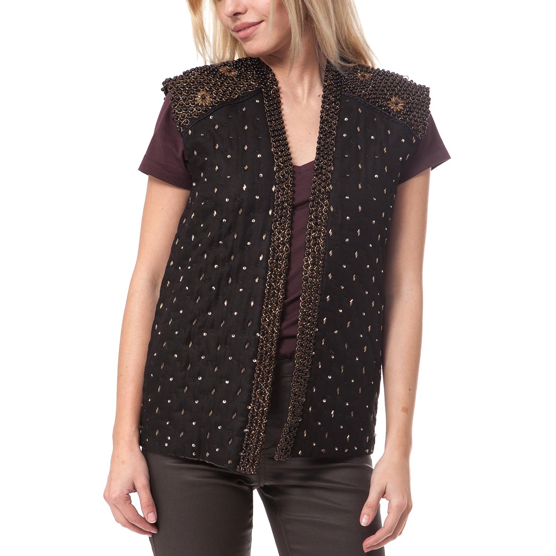 SCOTCH & SODA - Γυναικείο γιλέκο Maison Scotch μαύρο γυναικεία ρούχα πανωφόρια αμάνικα μπουφάν