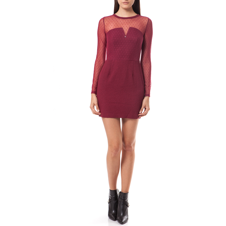 GUESS - Γυναικείο φόρεμα Guess μπορντώ γυναικεία ρούχα φορέματα μίνι