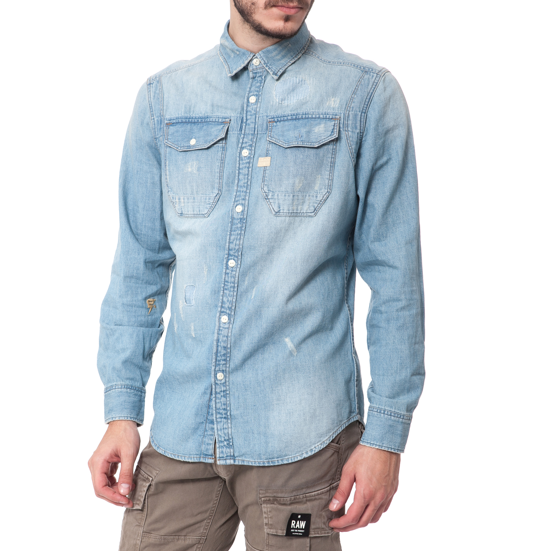 G-STAR RAW - Ανδρικό πουκάμισο G-Star Raw μπλε ανδρικά ρούχα πουκάμισα μακρυμάνικα