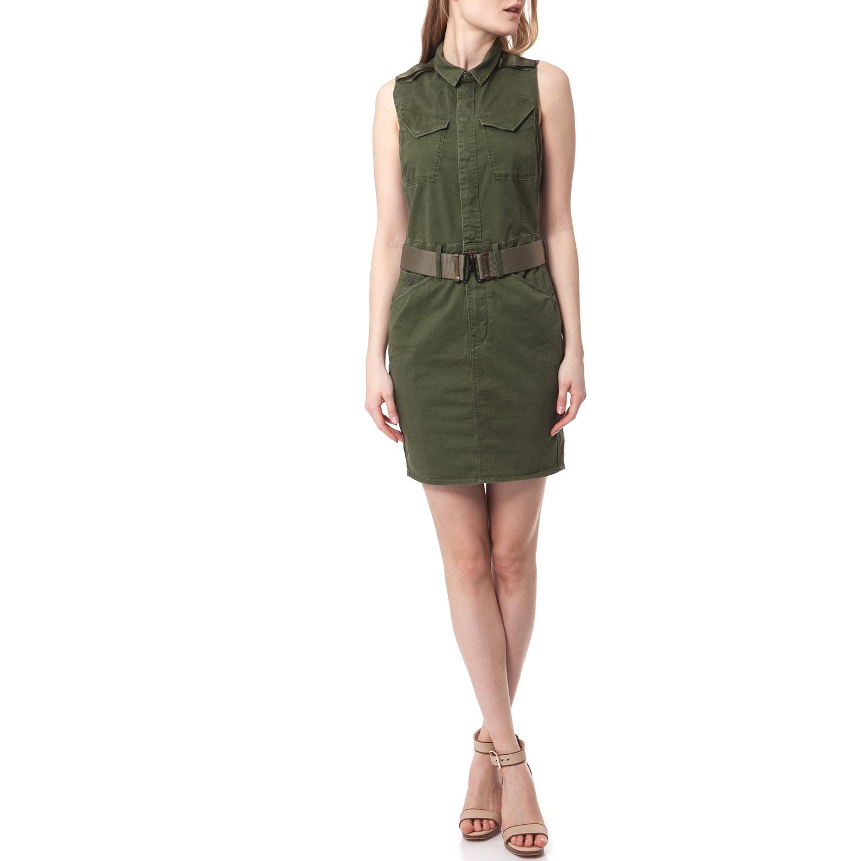 G-STAR - Αμάνικο φόρεμα G-STAR RAW χακί γυναικεία ρούχα φορέματα μίνι