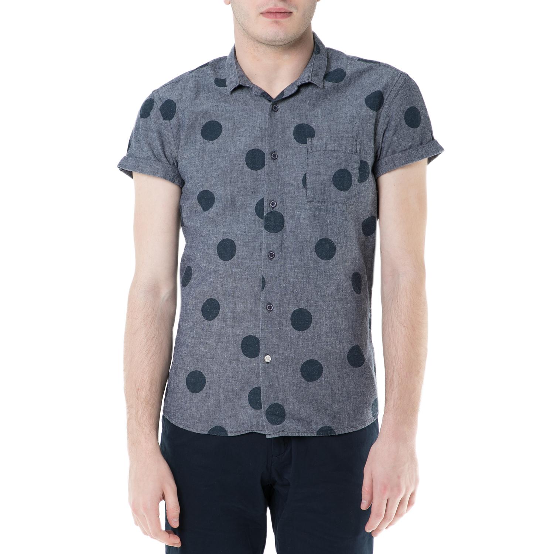 SCOTCH & SODA - Ανδρικό κοντομάνικο πουκάμισο Scotch & Soda γκρι πουά ανδρικά ρούχα πουκάμισα κοντομάνικα αμάνικα