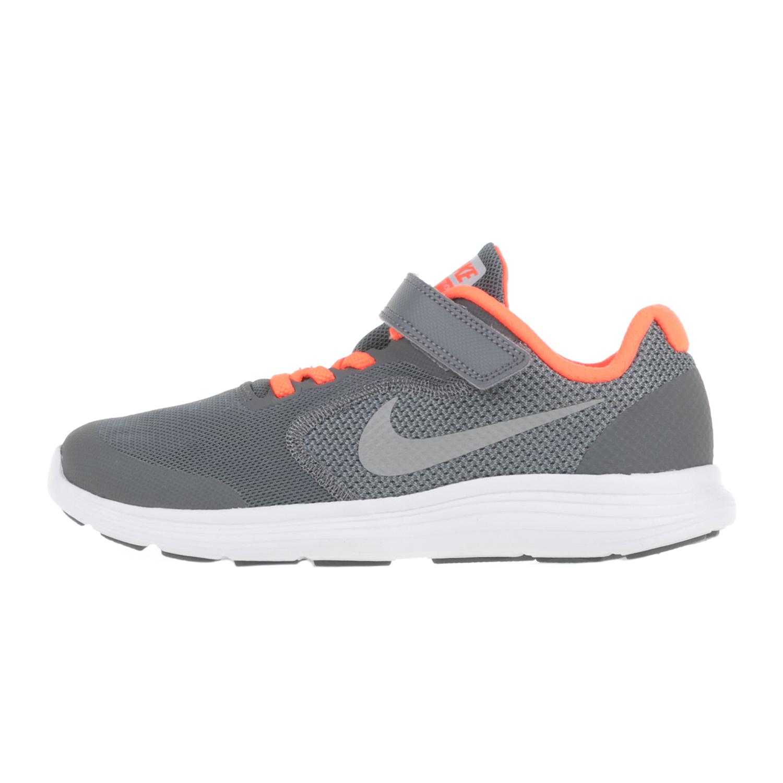 NIKE – Παιδικά αθλητικά παπούτσια NIKE REVOLUTION 3 (PSV) γκρι – πορτοκαλί