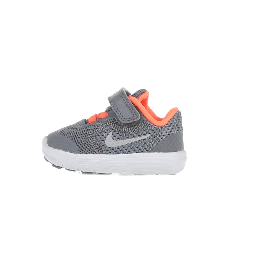 NIKE – Παιδικά αθλητικά παπούτσια NIKE REVOLUTION 3 (TDV) γκρι-πορτοκαλί d884be79177