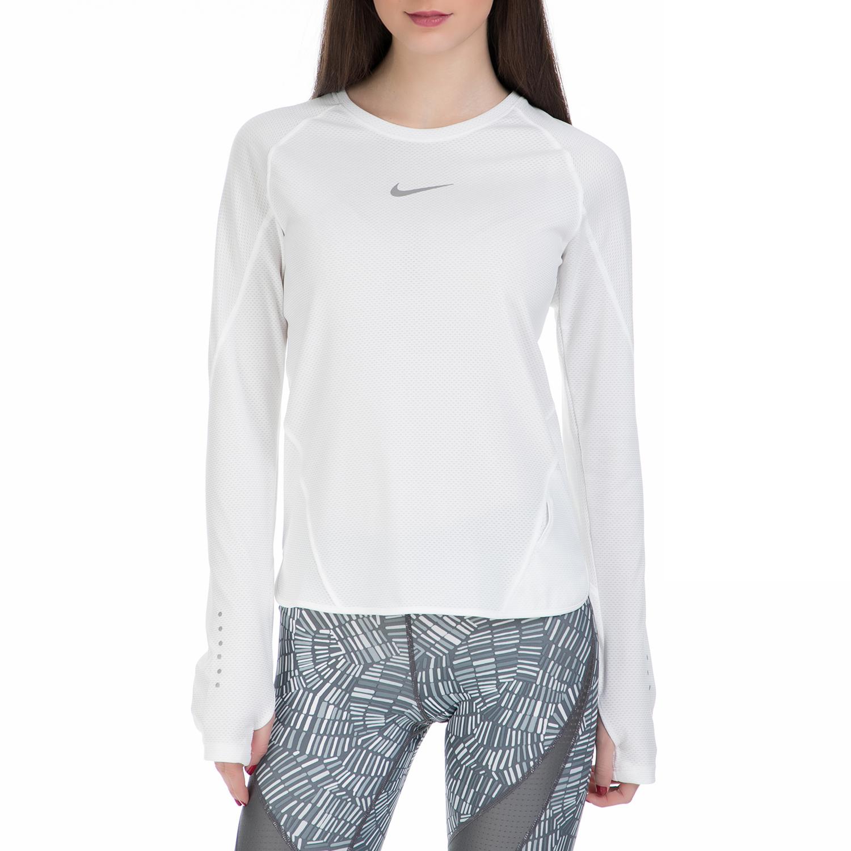 NIKE - Γυναικεία μακρυμάνικη αθλητική μπλούζα Nike λευκή γυναικεία ρούχα αθλητικά φούτερ μακρυμάνικα