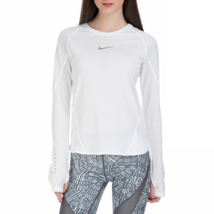 97cec5e08f47 Γυναικεία μακρυμάνικη αθλητική μπλούζα Nike λευκή (1435890.1-9181 ...
