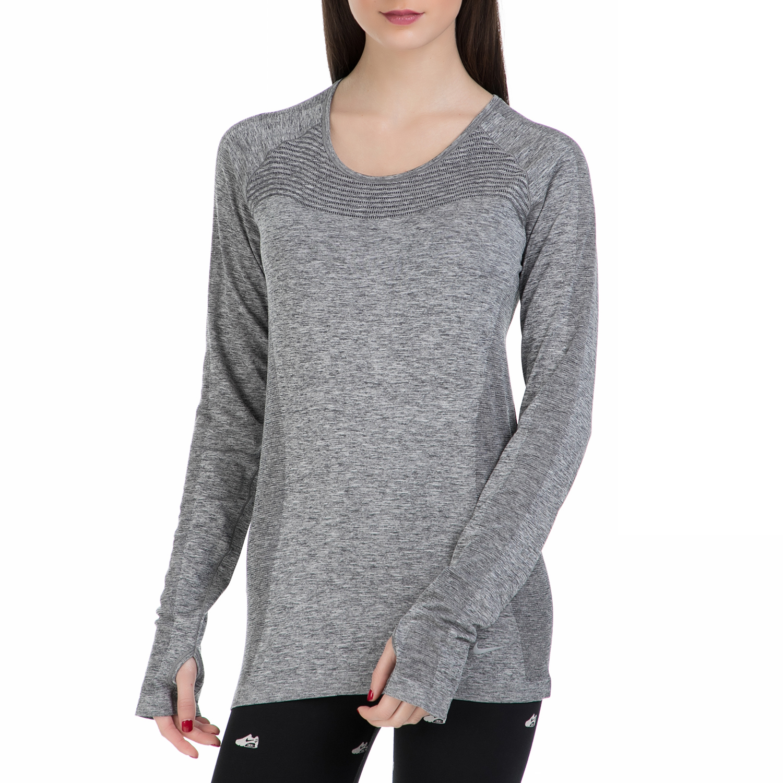 NIKE - Γυναικεία μακρυμάνικη αθλητική μπλούζα Nike γκρι γυναικεία ρούχα αθλητικά φούτερ μακρυμάνικα