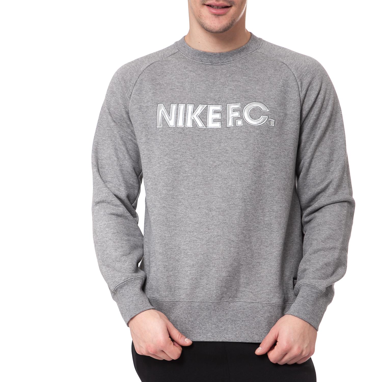 NIKE - Ανδρικό φούτερ NIKE FC CITY CREW γκρι μελανζέ ανδρικά ρούχα αθλητικά φούτερ μακρυμάνικα