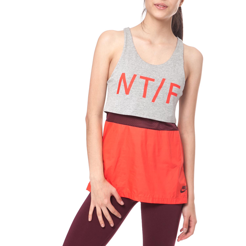 NIKE - Γυναικείο φανελάκι NIKE RU RUN CREW TANK γκρι-πορτοκαλί γυναικεία ρούχα αθλητικά t shirt τοπ