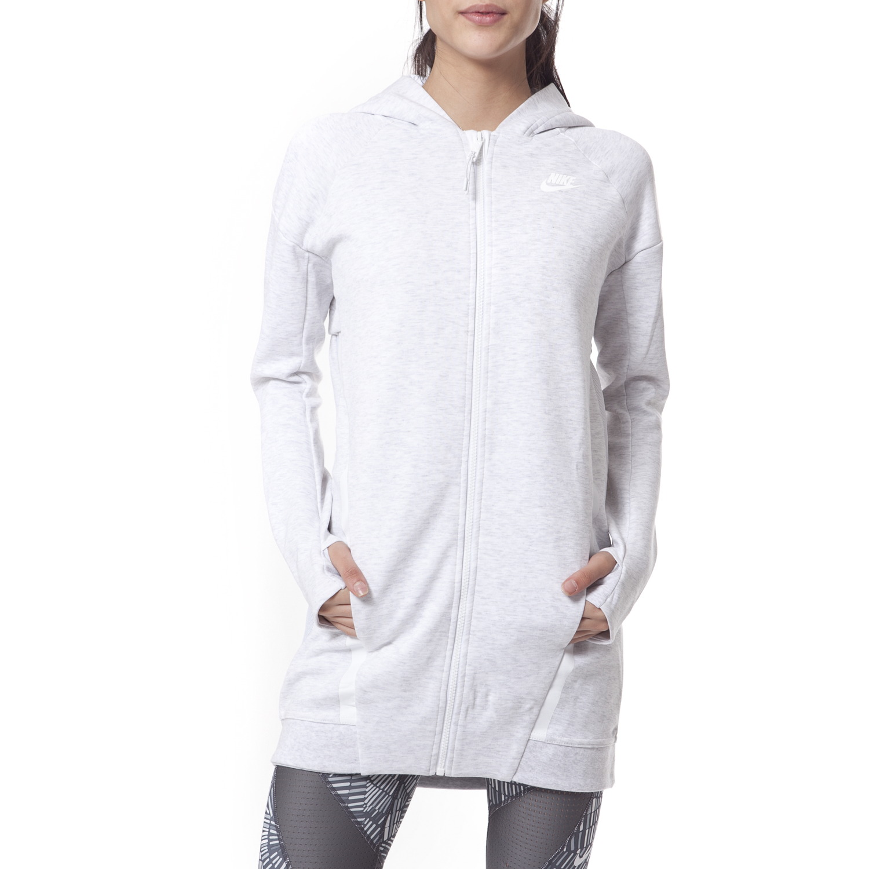 NIKE - Γυναικεία ζακέτα Nike εκρού γυναικεία ρούχα αθλητικά φούτερ μακρυμάνικα
