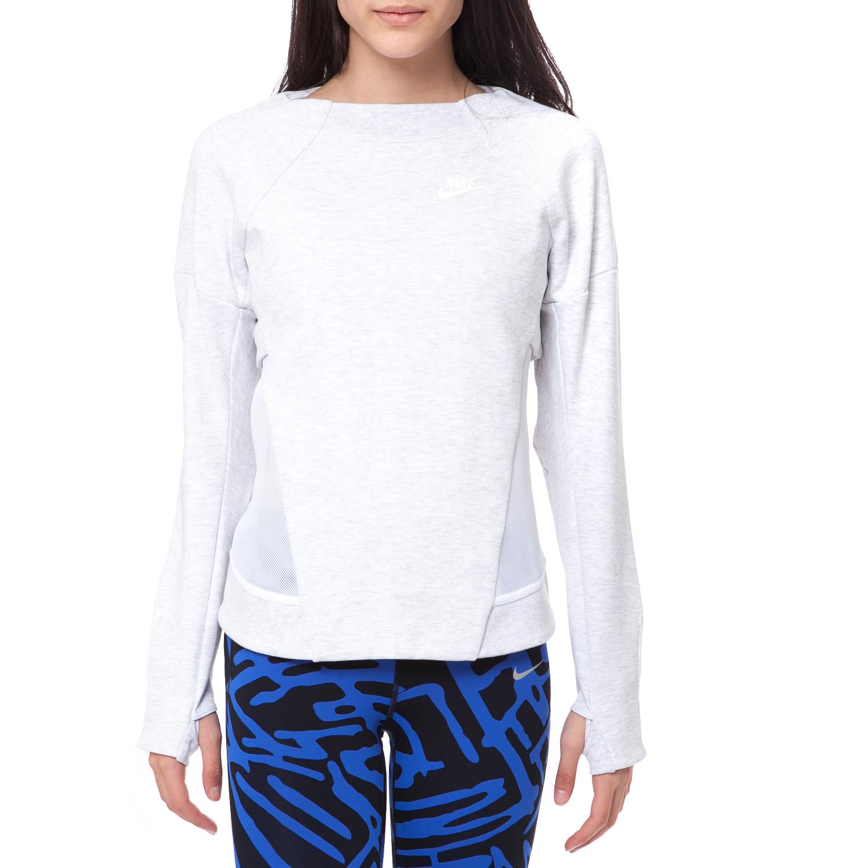 NIKE - Γυναικείο φούτερ NIKE TECH FLEECE CREW-MESH γκρι μελανζέ γυναικεία ρούχα αθλητικά φούτερ μακρυμάνικα