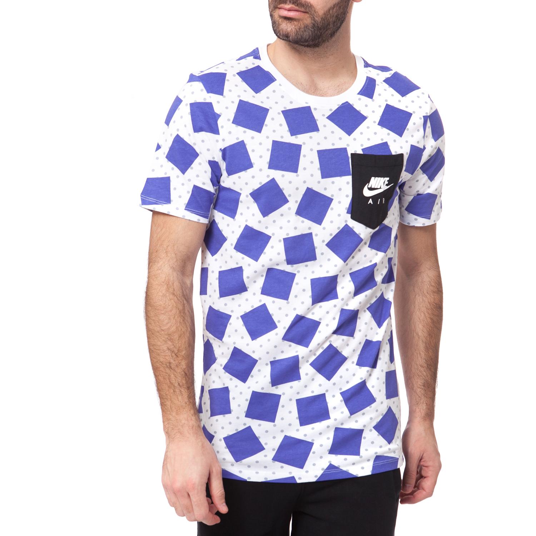NIKE - Ανδρική μπλούζα NIKE λευκή-μπλε ανδρικά ρούχα αθλητικά t shirt