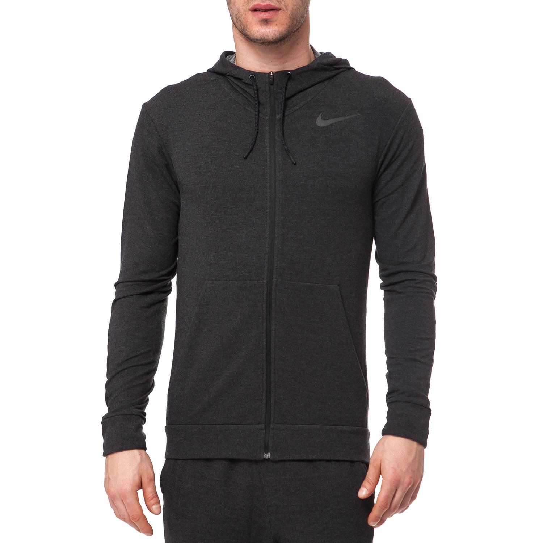 NIKE - Αντρική ζακέτα NIKE γκρι-μαύρη ανδρικά ρούχα αθλητικά φούτερ μακρυμάνικα