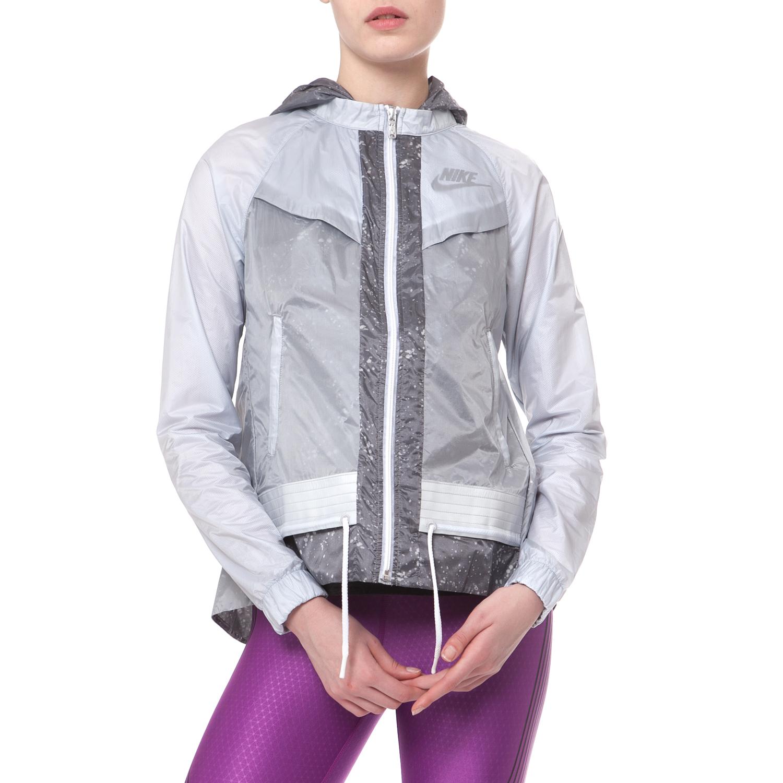 NIKE - Γυναικείο αντιανεμικό τζάκετ NIKE WINDRUNNER-SPLATTER γκρι γυναικεία ρούχα πανωφόρια μπουφάν