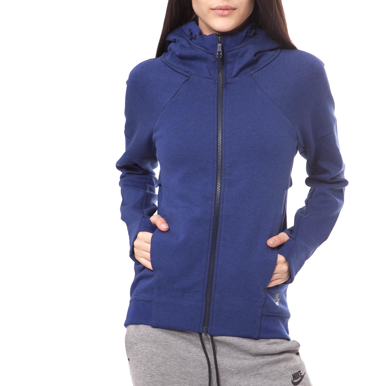 NIKE - Γυναικεία ζακέτα NIKE TECH FLEECE FZ HOODIE μπλε γυναικεία ρούχα αθλητικά φούτερ μακρυμάνικα