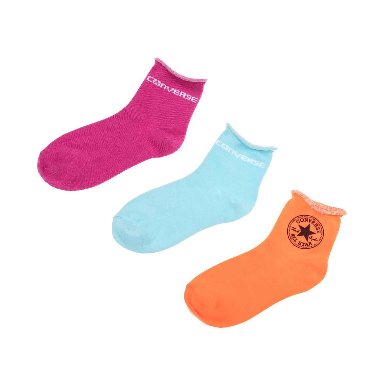 CONVERSE - Γυναικείο σετ κάλτσες CONVERSE ροζ-μπλε-πορτοκαλί γυναικεία αξεσουάρ κάλτσες