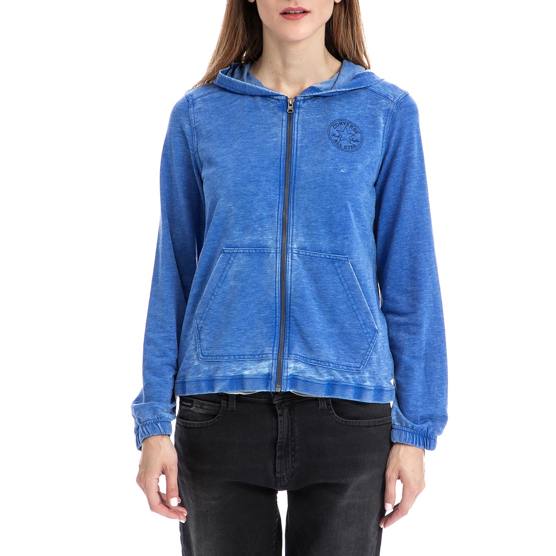CONVERSE - Γυναικεία ζακέτα Converse μπλε γυναικεία ρούχα αθλητικά φούτερ μακρυμάνικα