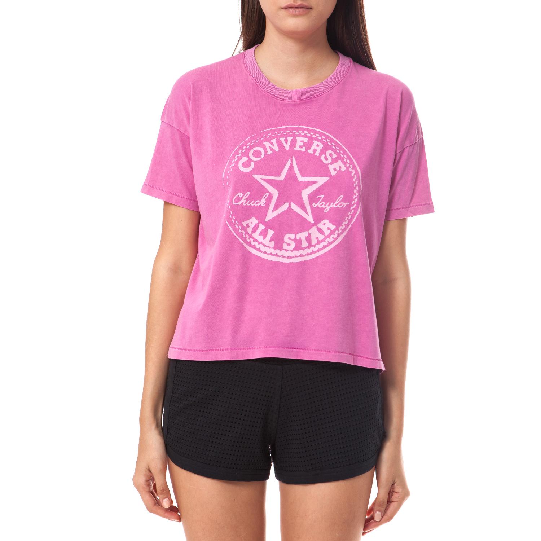 CONVERSE - Γυναικεία μπλούζα Converse ροζ γυναικεία ρούχα αθλητικά t shirt τοπ