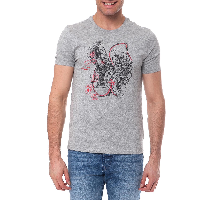 CONVERSE - Ανδρική μπλούζα Converse γκρι ανδρικά ρούχα αθλητικά t shirt
