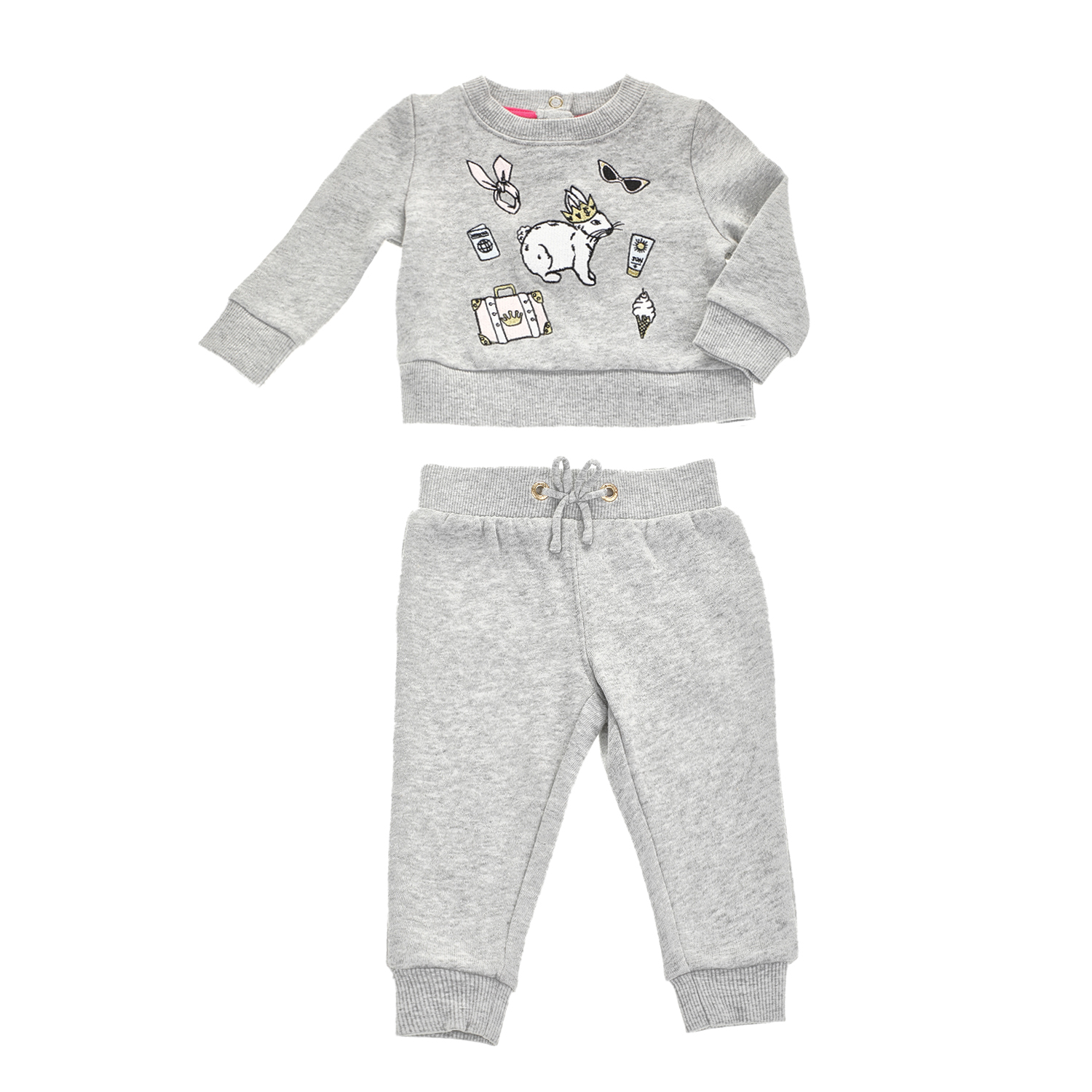 JUICY COUTURE KIDS - Βρεφικό σετ JUICY COUTURE BUNNY γκρι