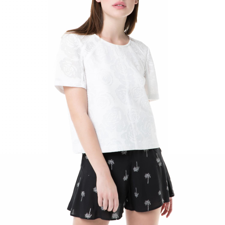 JUICY COUTURE - Γυναικείο κοντομάνικο τοπ burnout bonded mesh Juicy Couture λευκ γυναικεία ρούχα μπλούζες τοπ