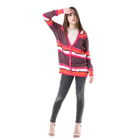 JUICY COUTURE-Γυναικεία ριγέ ζακέτα berenson stripe long card Juicy Couture ροζ