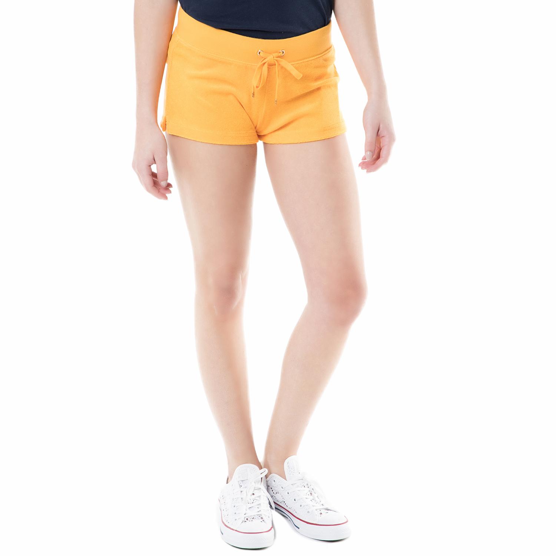 JUICY COUTURE - Γυναικείο σορτς bling snap pocket terry Juicy Couture πορτοκαλί