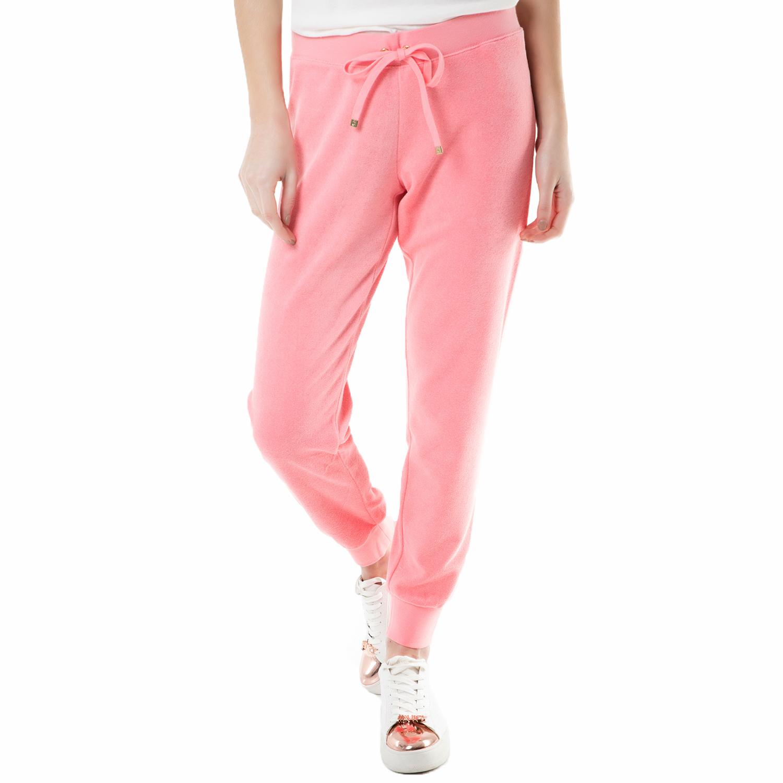 JUICY COUTURE - Γυναικείο παντελόνι φόρμας bling slim terry Juicy Couture ροζ γυναικεία ρούχα παντελόνια φόρμες