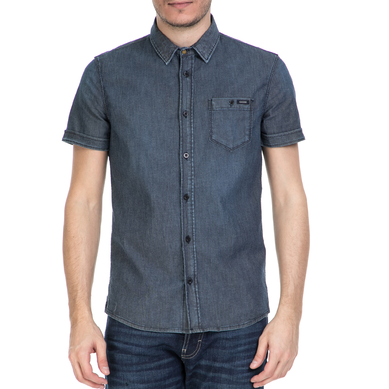 GUESS - Ανδρικό κοντομάνικο πουκάμισο GUESS ντένιμ ανδρικά ρούχα πουκάμισα κοντομάνικα αμάνικα